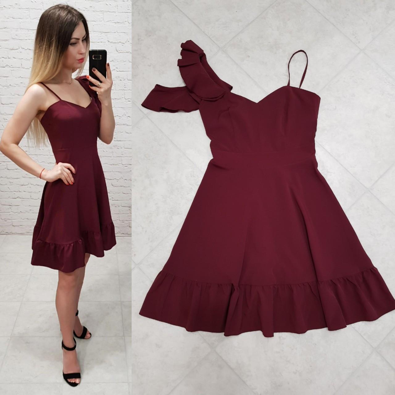 Сукня асиметрія арт. 164 бордо / вишня / марсала