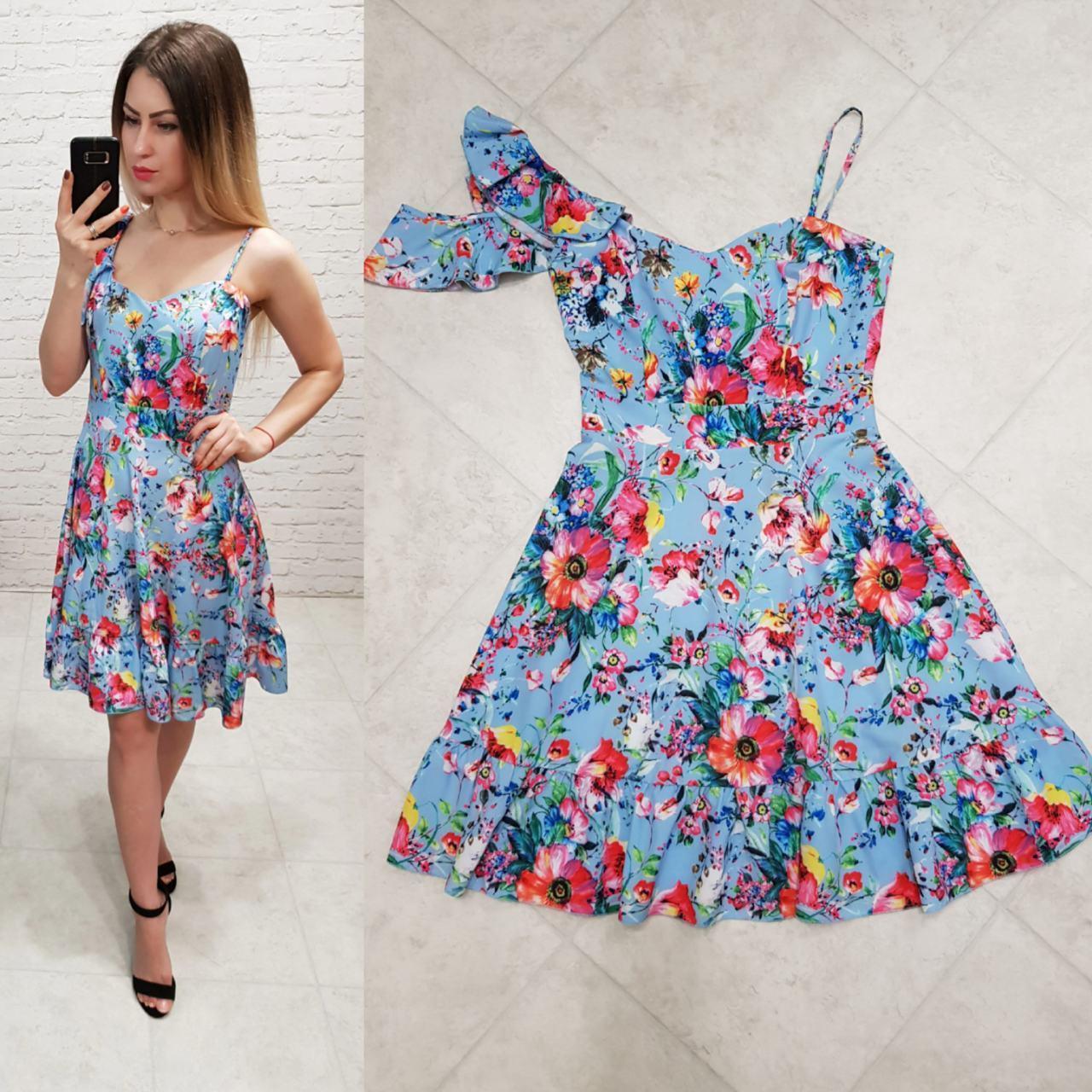 Сукня асиметрія арт. 164 блакитне з маками