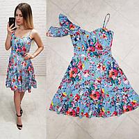Сукня асиметрія арт. 164 блакитне з маками, фото 1