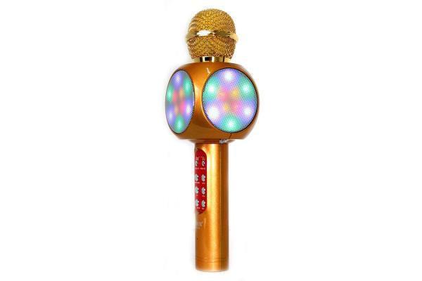 Беспроводной караоке микрофон WS1816 со цветомузыкой и чехлом - Золотой