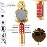 Беспроводной караоке микрофон WS1816 со цветомузыкой и чехлом - Золотой, фото 3