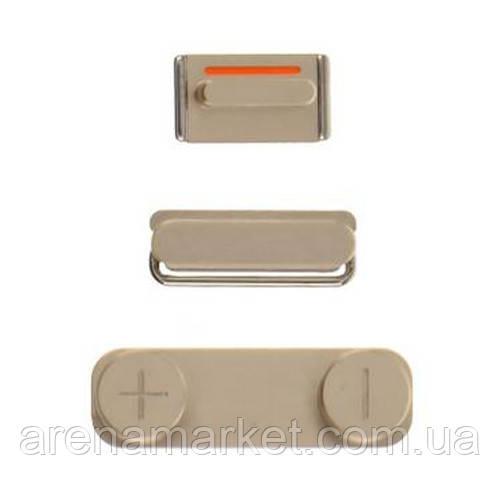 Набор боковых кнопок для Apple iPhone 5 (включения/выключения, включения, режима без звука) - Gold