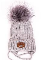 """Детская шапка """"Оливер"""" серый (46-50, подкладка флис)"""