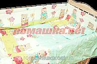 """Защита (ограждение, бортики, охранка, бампер) """"Мишка садовод"""" на всю кроватку из двух частей, 360х35 см, фото 1"""