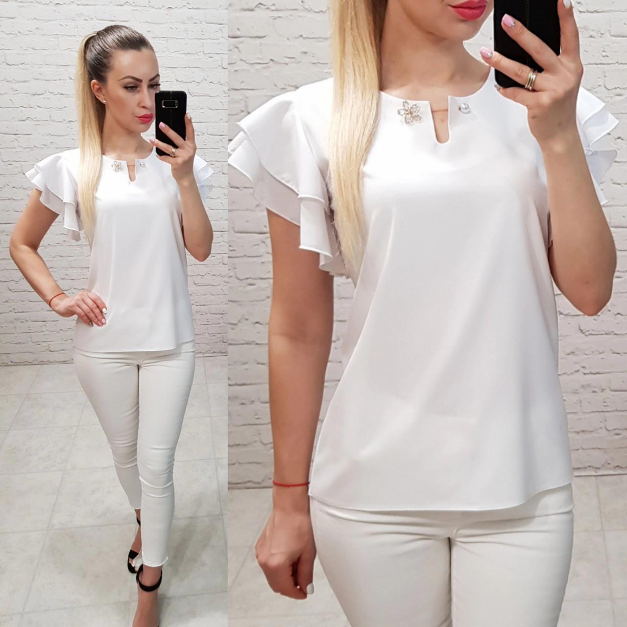 Блузка / блуза  с брошкой и воланами арт. 166 белый / белая
