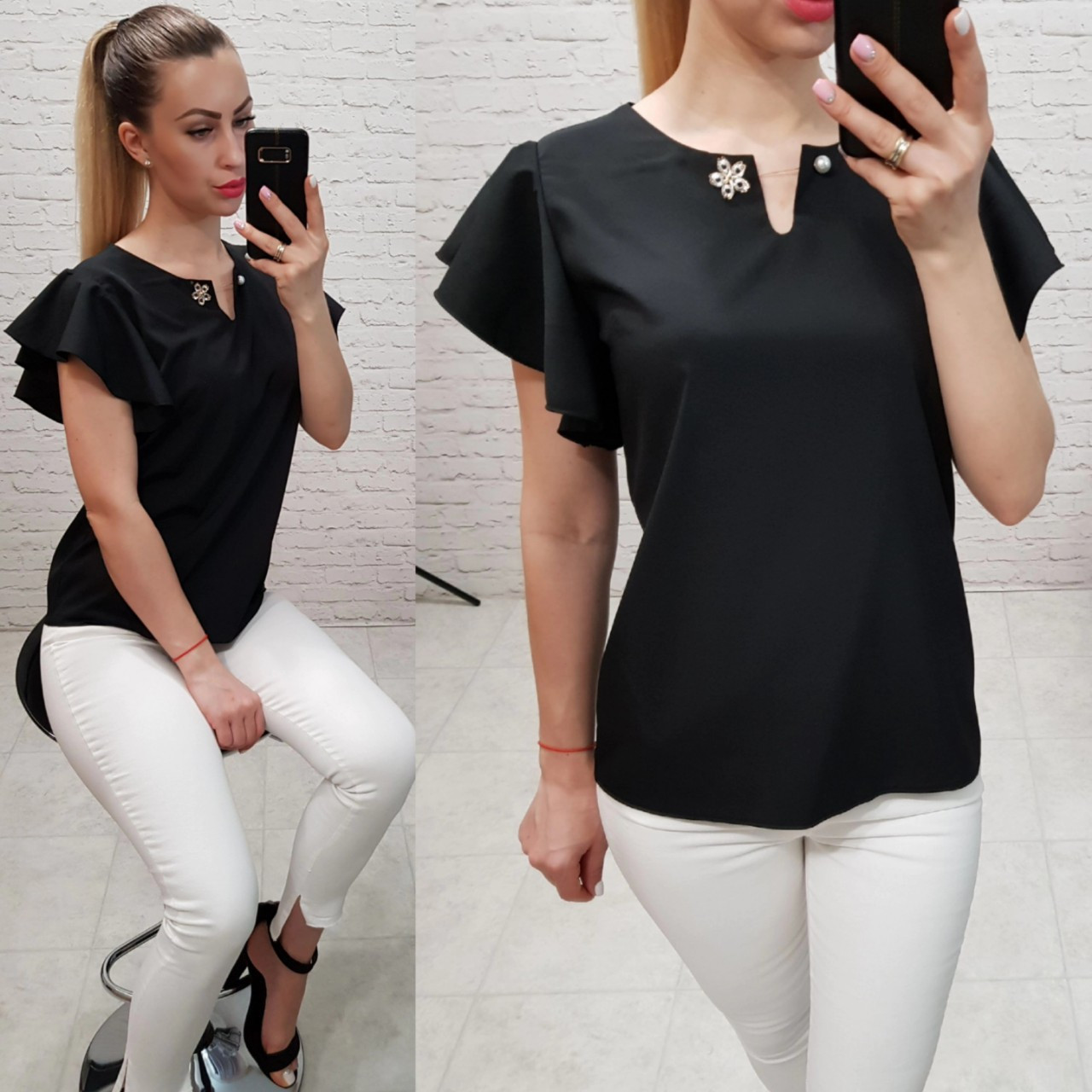 Блузка / блуза з брошкою без рукава арт. 166 чорний / чорний
