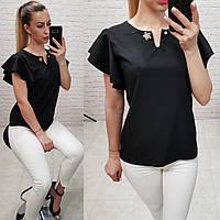 Блузка / блуза з брошкою без рукава арт. 166 чорний / чорний, фото 1