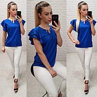 Блузка / блуза  с брошкой без рукава арт. 166 электрик / ярко синий, фото 1