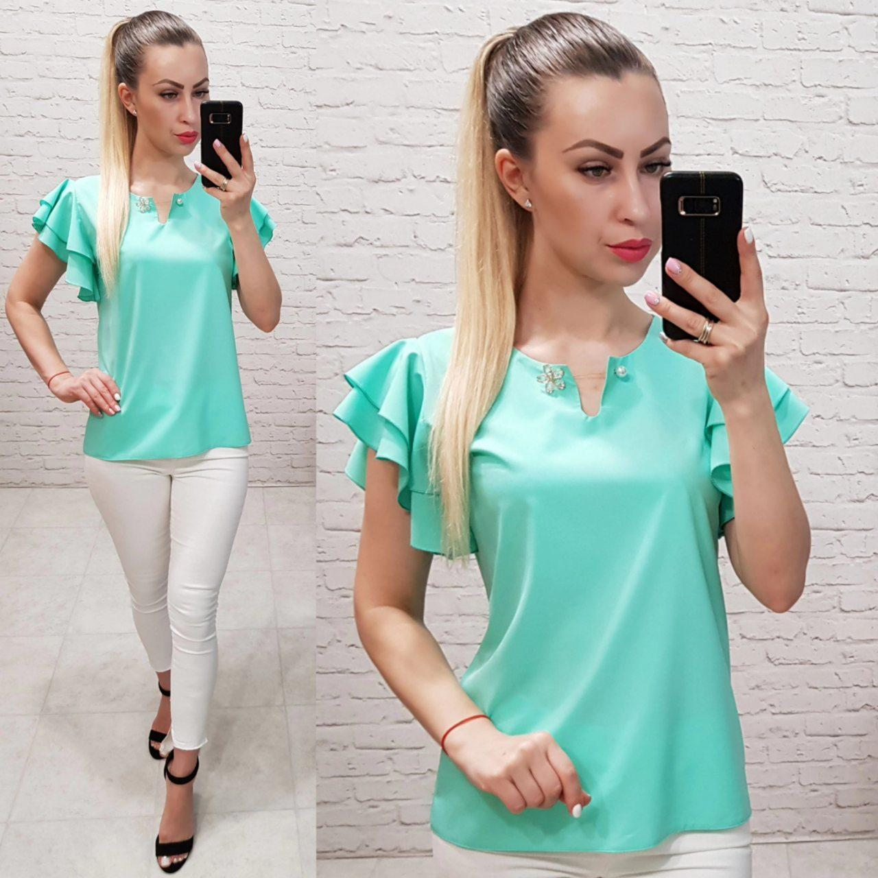 Блузка / блуза короткий рукав с брошью арт. 166 мятная / бирюзовая