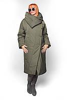 """Зимнее женское пальто-одеяло  """"Аксель"""" - т.зеленый 09903"""