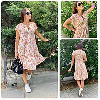 Платье летнее свободного кроя С 19-02 светлое растительные узоры