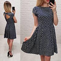 Платье арт. С 19-01 с открытой спинкой синее в горох