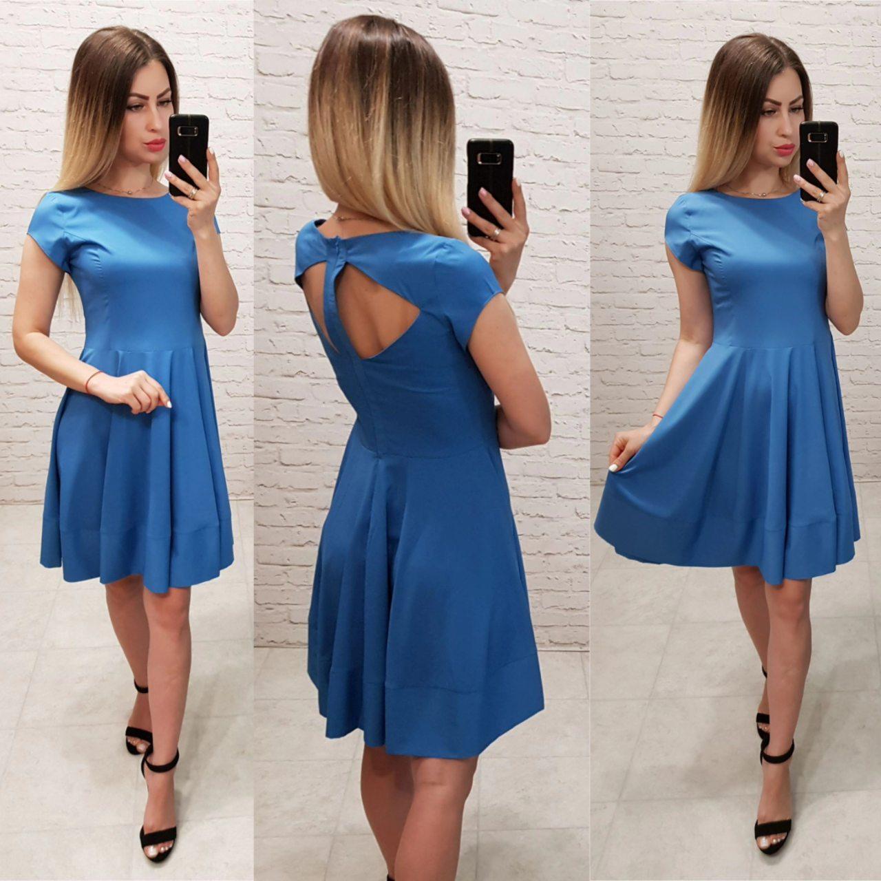 Сукня арт. З 19-01 з відкритою спинкою блакитний синій без малюнка
