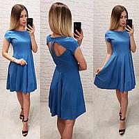 Сукня арт. З 19-01 з відкритою спинкою блакитний синій без малюнка, фото 1