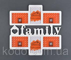 """Фоторамка мультирамка коллаж """"Family"""" из Дерева на 6 фото 10х15"""