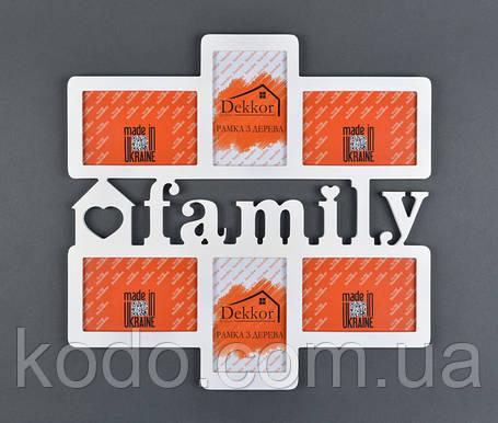 """Фоторамка мультирамка коллаж """"Family"""" из Дерева на 6 фото 10х15, фото 2"""