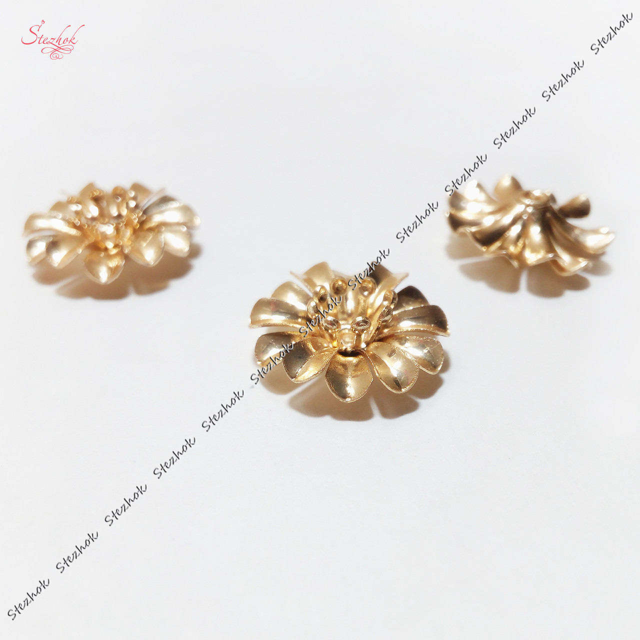 Металлический разделитель бусина 14 мм цветок золото для рукоделия