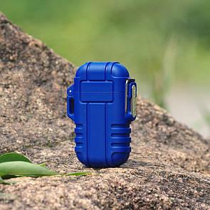 USB зажигалка электроимпульсная на 2 дуги в водонепроницаемом корпусе цвет синий (электронная)