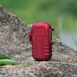 USB зажигалка электроимпульсная на 2 дуги в водонепроницаемом корпусе цвет красный (электронная)