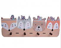 Детская настенная деревянная вешалка Лесные друзья