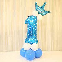 Цифра 1 из воздушных шаров на День рождение мальчика + 12 шаров + корона. Высота цифры 1 метр