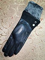 Кожа-натуральная с махра женские перчатки только оптом, фото 1