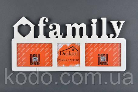 """Фоторамка мультирамка коллаж """"Family"""" из Дерева на 3 фото 10х15, фото 2"""