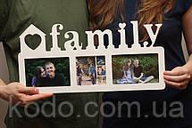 """Фоторамка мультирамка коллаж """"Family"""" из Дерева на 3 фото 10х15, фото 3"""