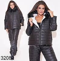 Женские зимние синтепоновые костюмы - двойка 48  50 р черный