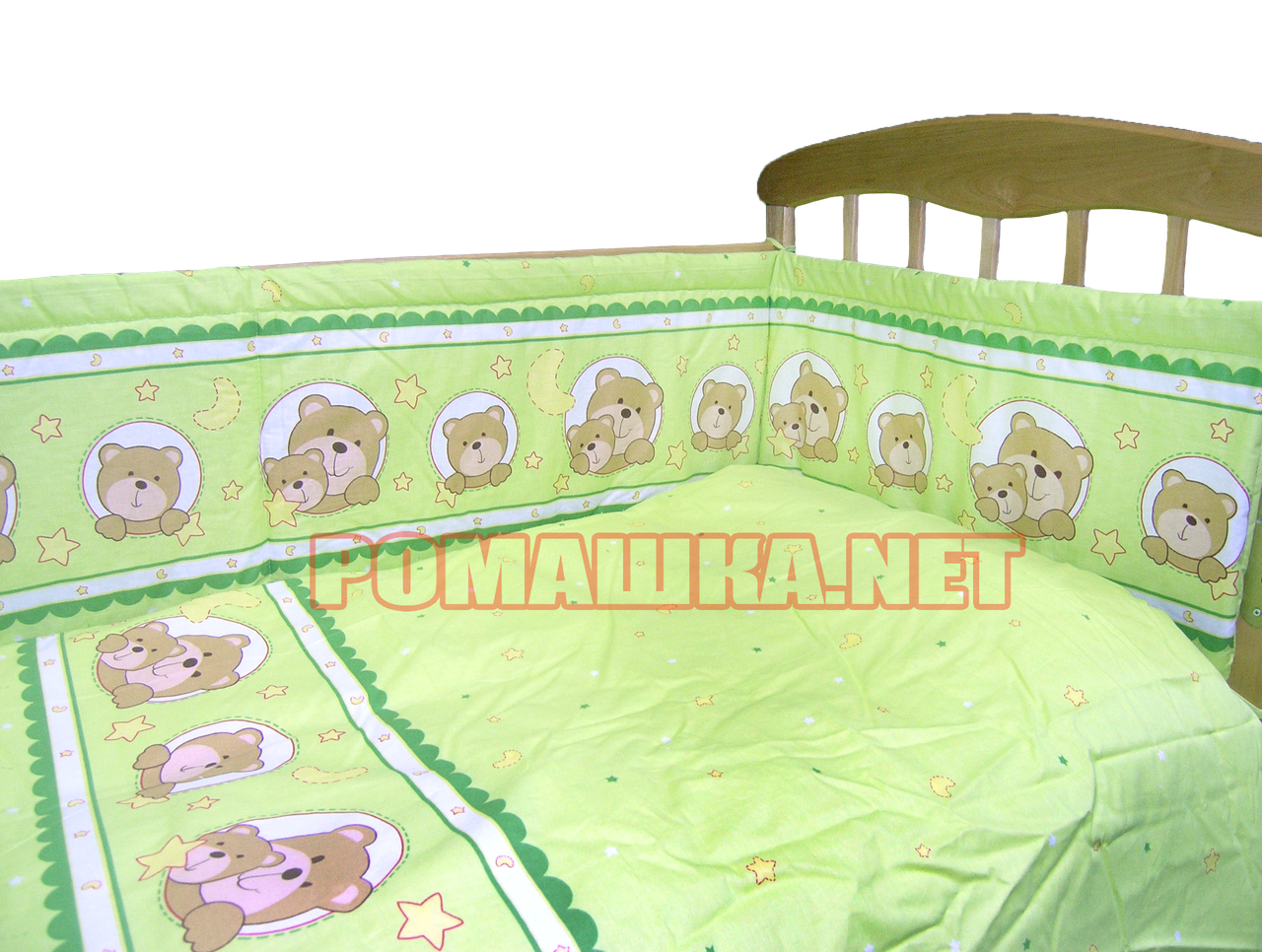 """Защита (ограждение, бортики, охранка, бампер) """"Мишка в круге"""" на всю кроватку из двух частей, 360х35 см"""