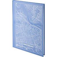 Книга записная Axent Maps Amsterdam 8422-507-A, A4, 96 листов, клетка, голубая, фото 1