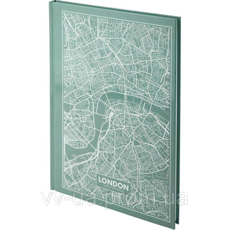 Книга записная Axent Maps London 8422-516-A, A4, 96 листов, клетка, бирюзовая