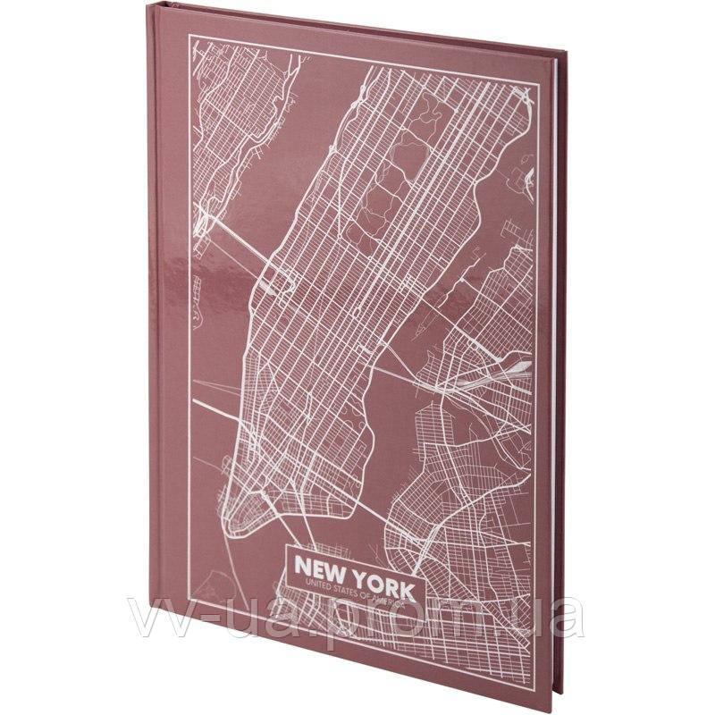 Книга записная Axent Maps New York 8422-543-A, A4, 96 листов, клетка, розово-коричневая