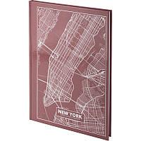 Книга записная Axent Maps New York 8422-543-A, A4, 96 листов, клетка, розово-коричневая, фото 1