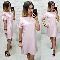 Платье с воланами арт. 783 пудровое / нежно розовое
