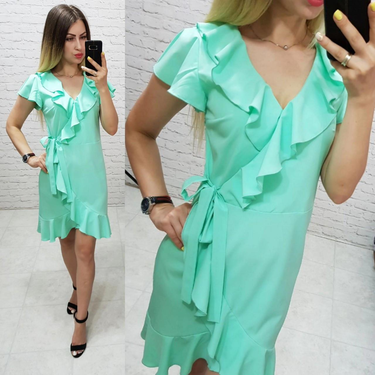 Платье на запах с воланами арт. 115 цвет мяты / мятный