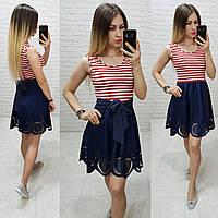 Платье синего цвета в морском стиле арт. 170 верх - красная и белая полоса