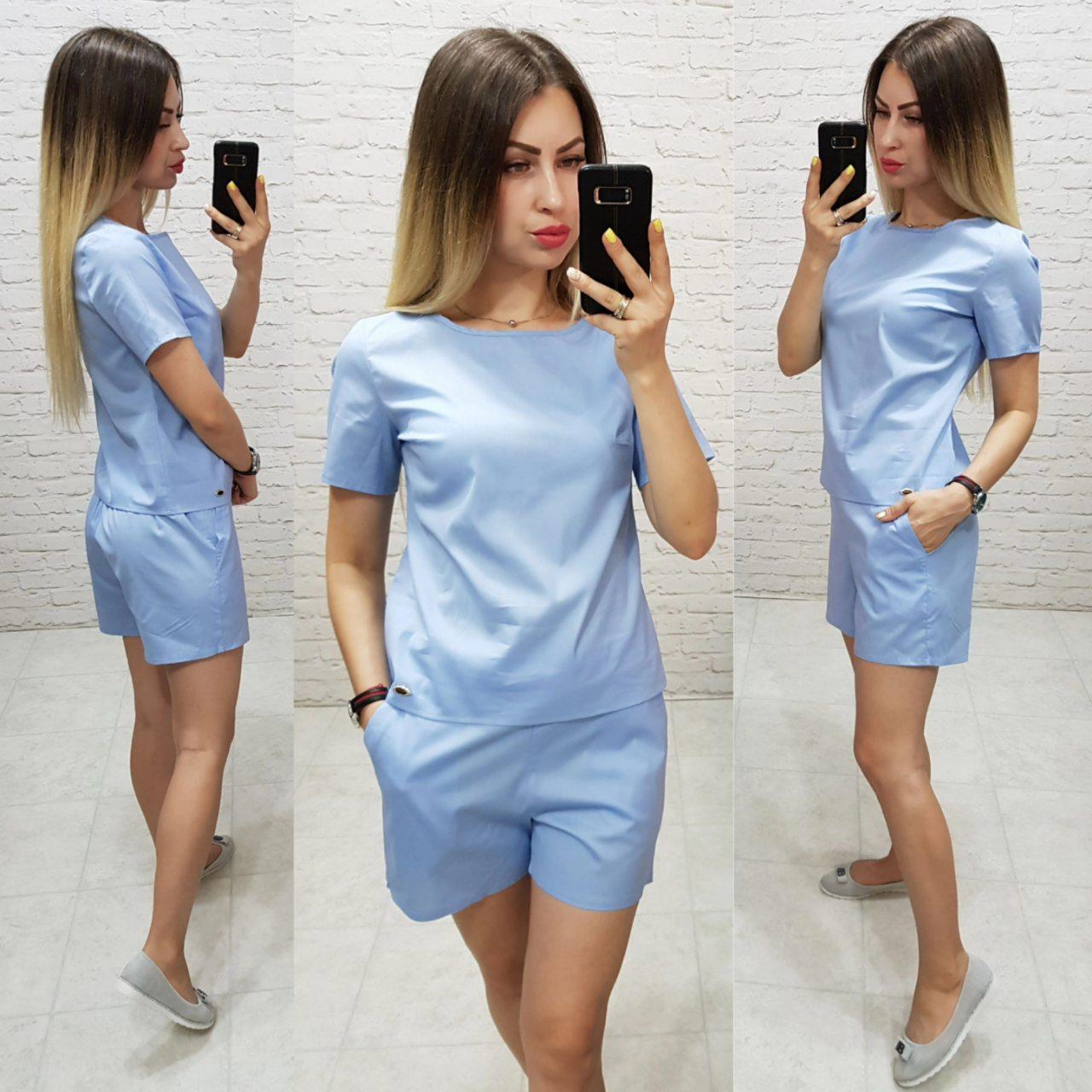 Костюм блуза + шорти коттон арт. 169 блакитний / блакитного кольору