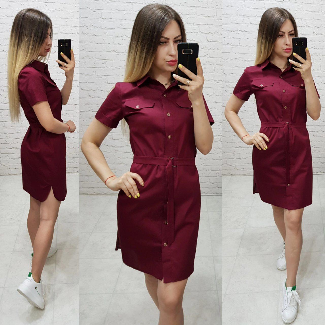 Сукня - сорочка з поясом арт. 171 бордового кольору / бордо / марсала / вишня