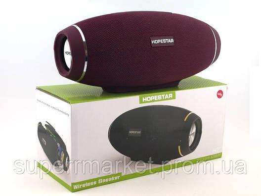 Hopestar H20 10W Portable PowerbankWiress Speaker FM Bluetooth MP3, бордо, фото 2