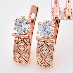 """Серебряные серьги позолоченные """"Алмазные"""", размер 16*5 мм, вставка белые фианиты, вес 2.98 г"""