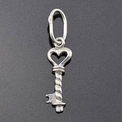 Серебряный кулон Ключ размер 25х6 мм вес 0.44 г