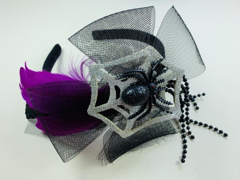 Обруч на Хэллоуин с пауком серебро