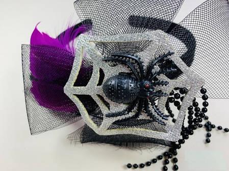 Обруч на Хэллоуин с пауком серебро, фото 2