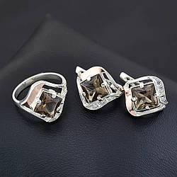Серебряный набор, кольцо размер 19 + серьги 18*17 мм, коричневые фианиты