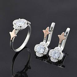 Серебряный набор с золотыми пластинами, кольцо размер 17.5 + серьги 22*10 мм