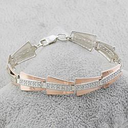 Серебряный браслет с золотыми пластинами 329/10-бр, ширина 11 мм, длина 17 см, вес 14.03 г