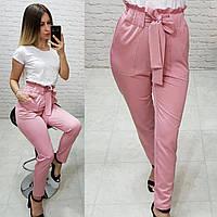 Штани з поясом арт. 168 рожева пудра / ніжно рожевий