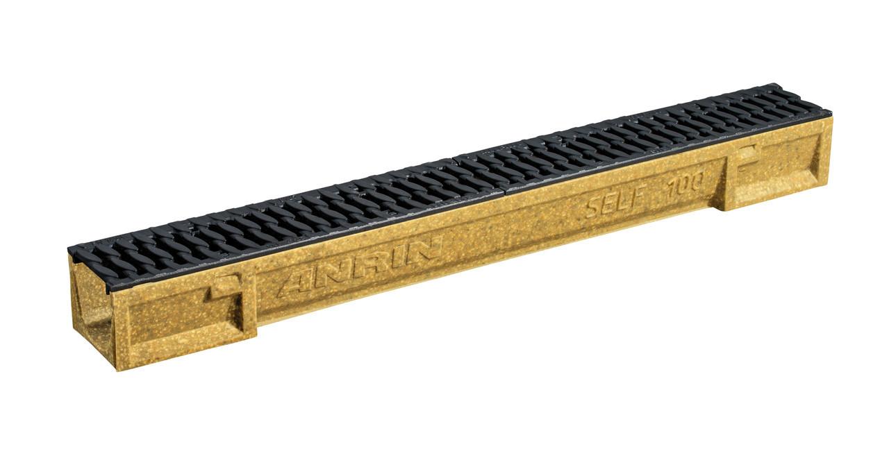 Каналы «ANRIN SELF 100 из полимербетона c ребристой решеткой из чугуна, 1 м, 07392000 SELF100 ANRIN