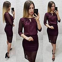 Костюм двойка (арт. 814/2 + 122) женский блука + юбка нарядный бордовый / марсала